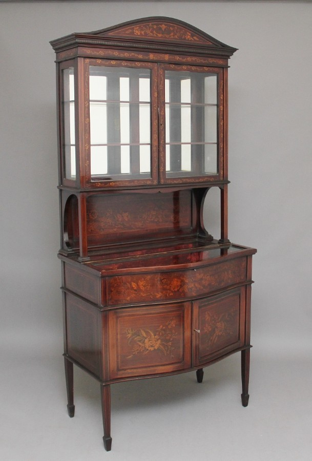 19th Century mahogany in inlaid display cabinet