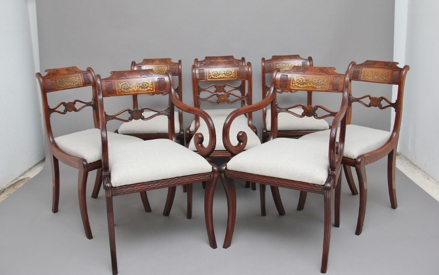Set of eight Regency mahogany & brass inlaid dining chairs
