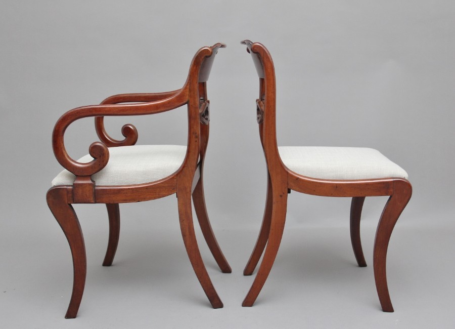 Antique Set of eight Regency mahogany & brass inlaid dining chairs