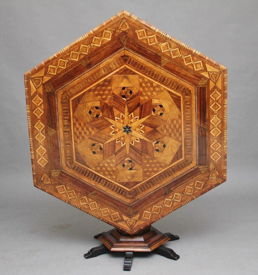 Antique 19th Century Italian parquetry centre table