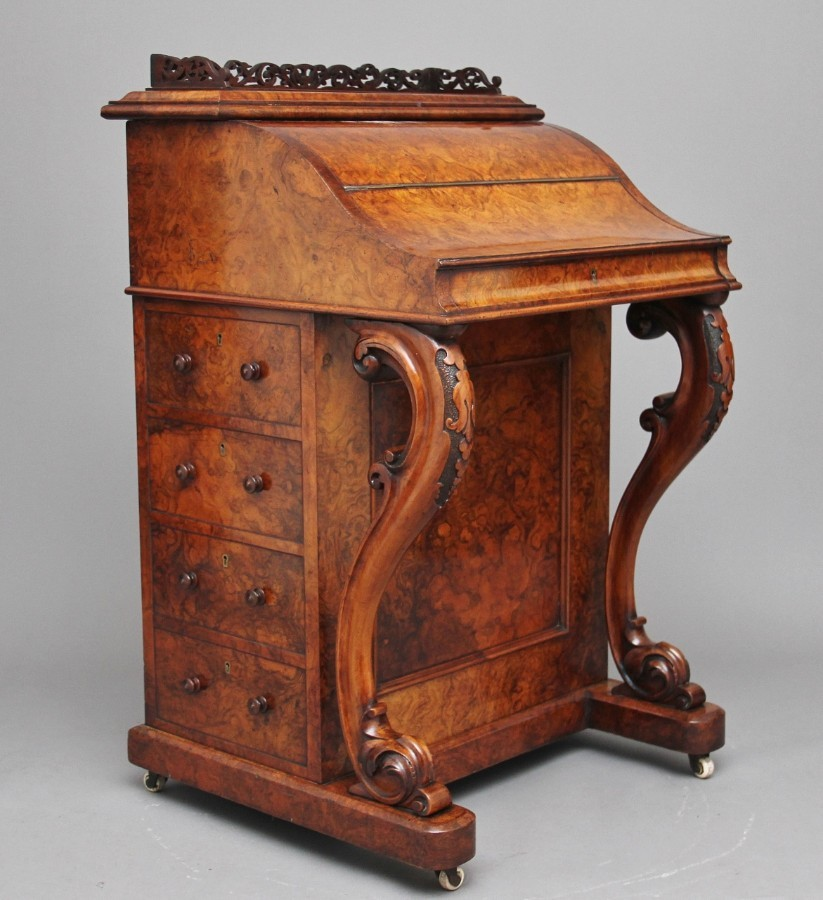 19th Century burr walnut rising top davenport