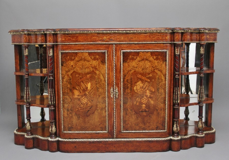 19th Century walnut and marquetry credenza