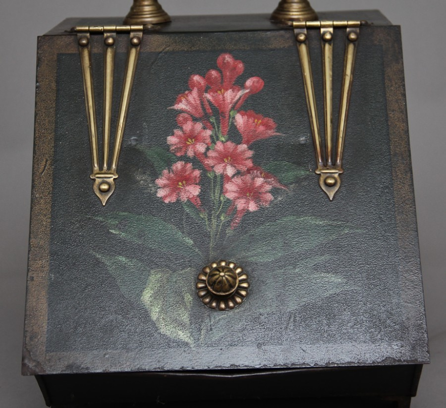 Antique 19th Century metal and painted coal box