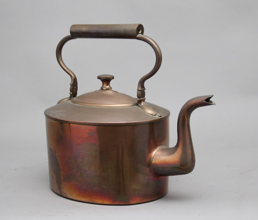 Antique Large 19th Century brass copper kettle