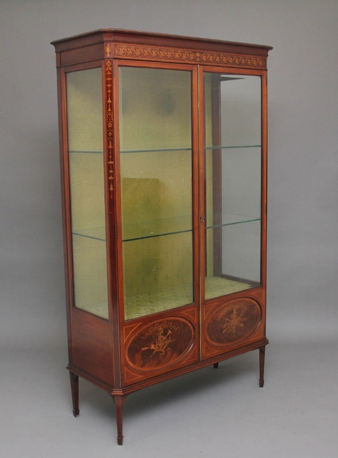 19th Century mahogany and inlaid display cabinet