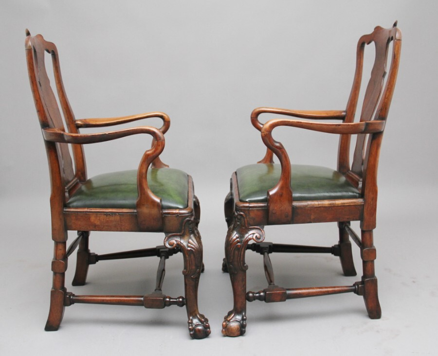 Antique Pair of 19th Century walnut armchairs