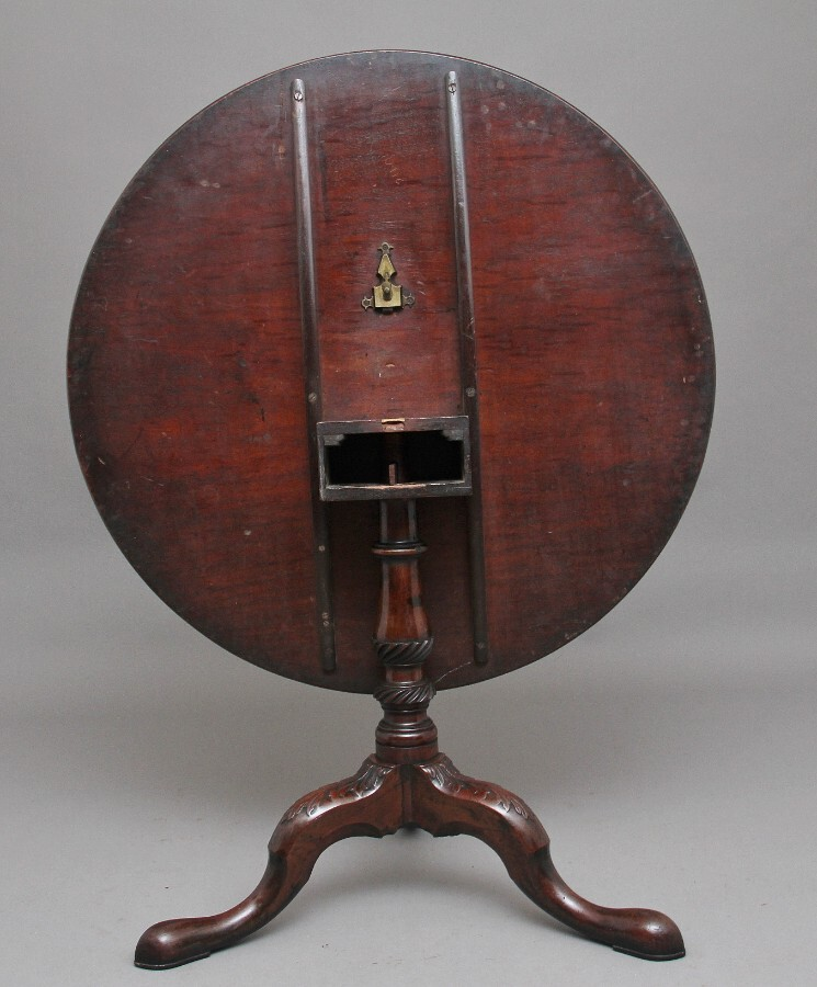 Antique 18th Century carved mahogany tripod table