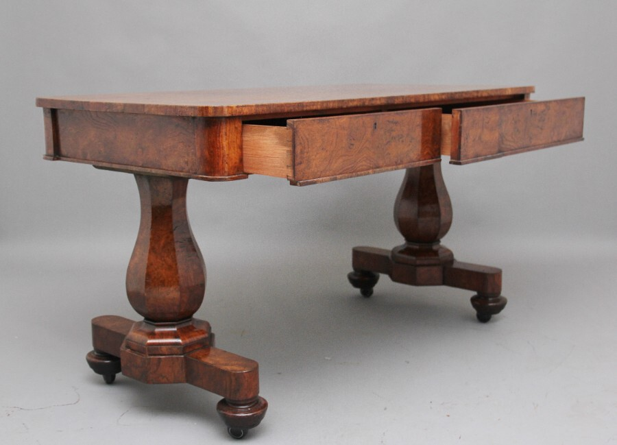 Antique Early 19th Century pollard oak library table