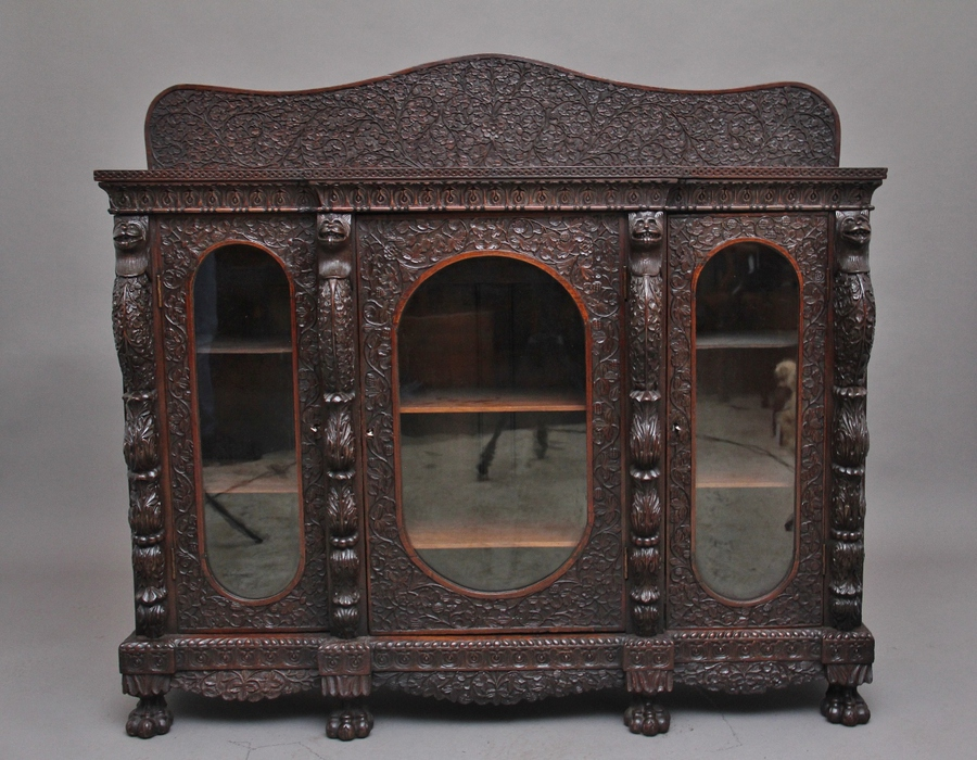 Antique Superb quality 19th Century Burmese breakfront cabinet