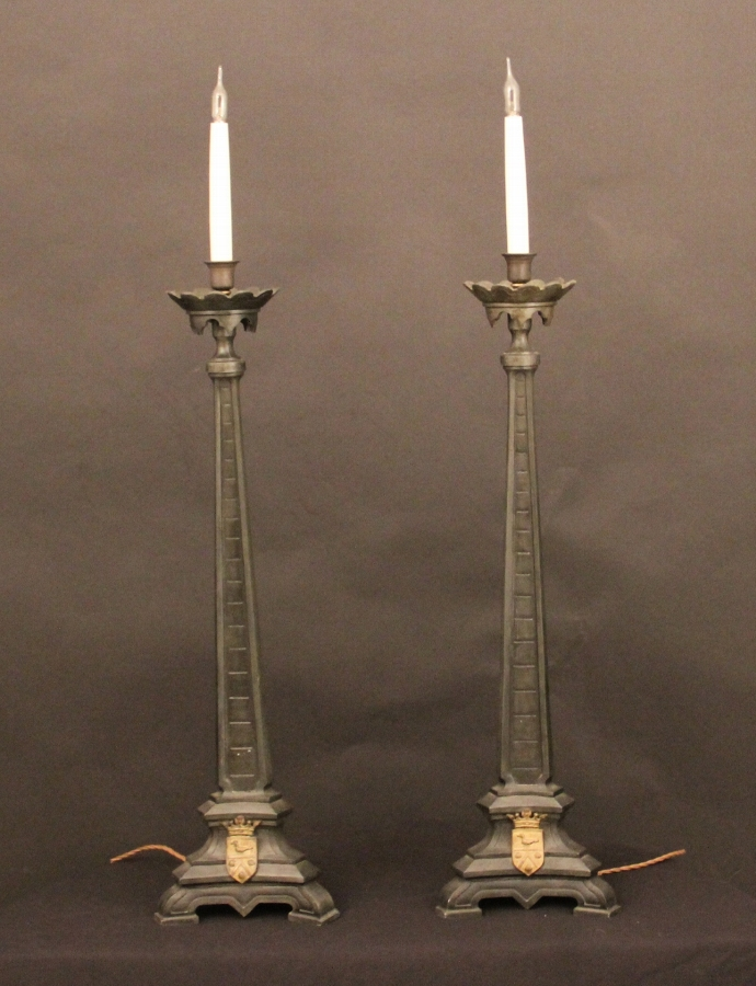 Bronzed metal candle sticks