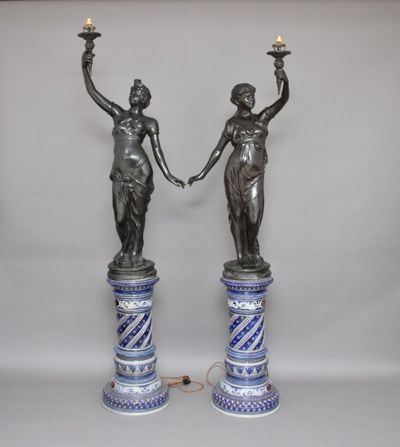 Pair bronze figural lamps on china bases