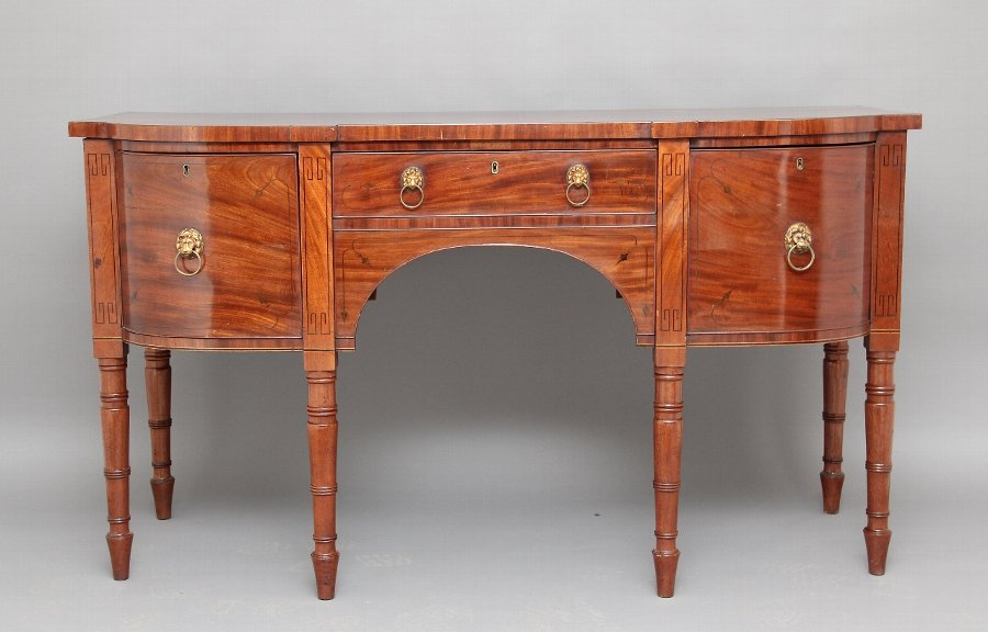 Inlaid bow ended sideboard