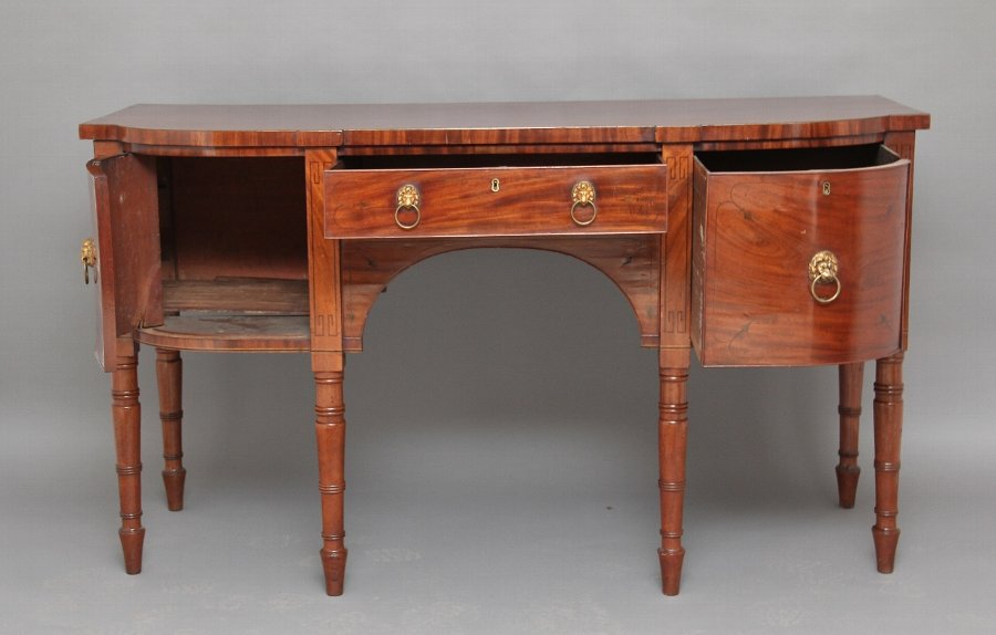 Antique Inlaid bow ended sideboard