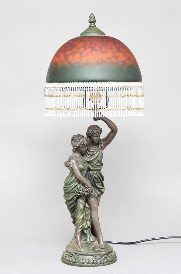 Bronze and glass table lamp