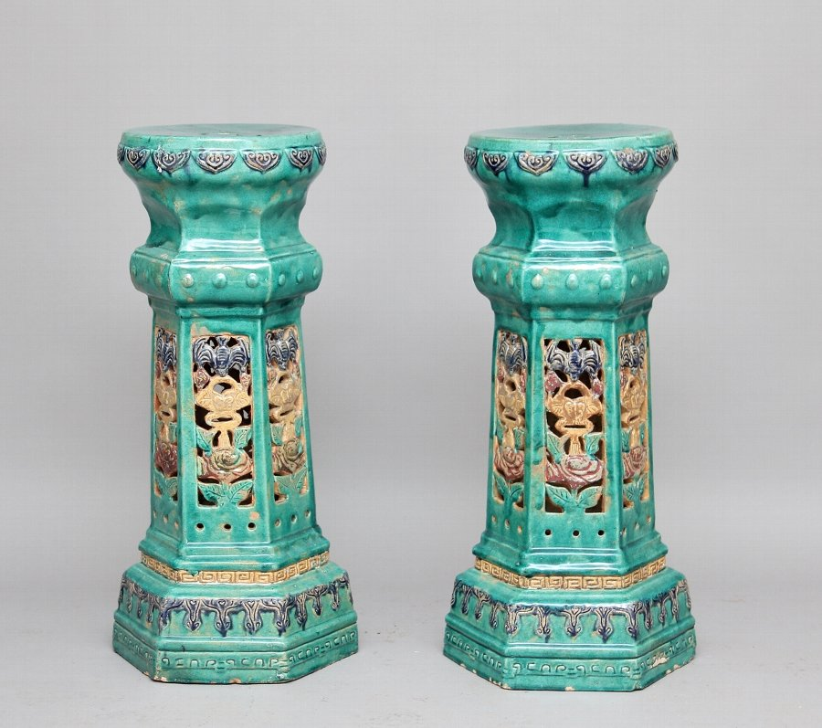 Pair Chinese porcelain pedestals