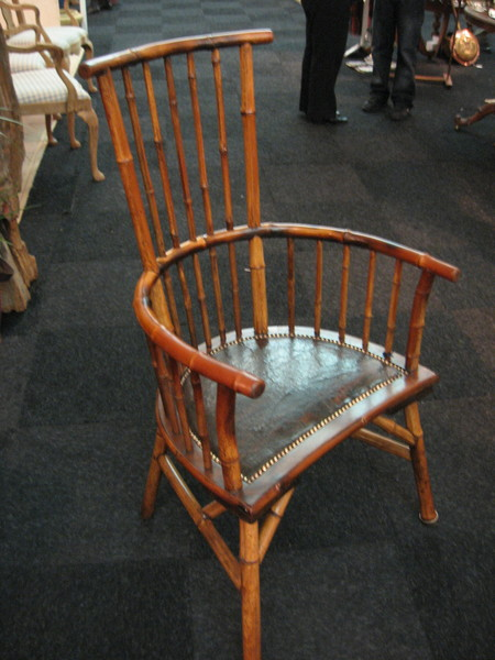 Antique 19th C Bamboo & Mahogany Stick back Armchair