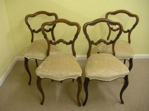 Antique 4 Victorian Rosewood Balloon Back Dining Chairs