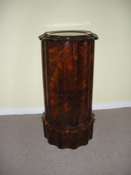 Antique Cylindrical commode with marble inset