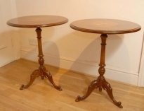 Antique PAIR ENGLISH WALNUT VICTORIAN INLAY SIDE TABLES