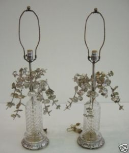 Antique Pair of 1950s Crystal & Silverleaf Italian Table Lamps