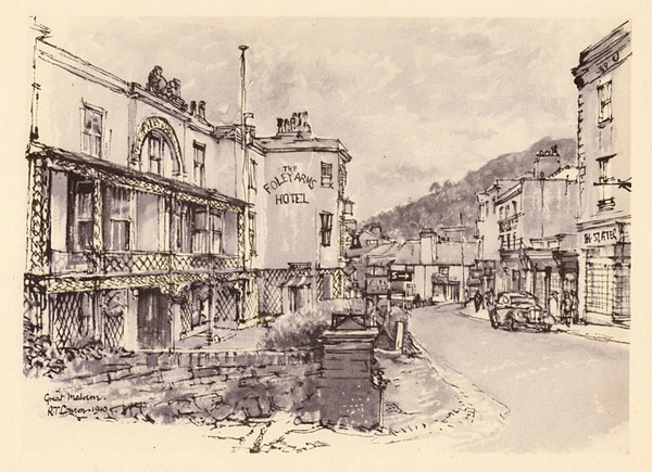Antique Foley Arms, Malvern, Raymond Cowern print c1940