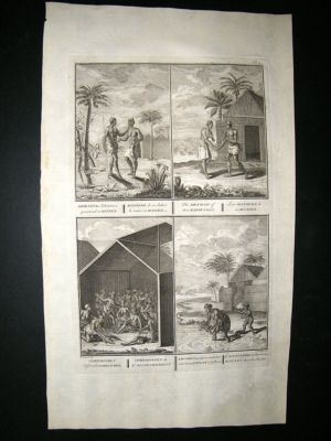 Africa Guinea 1730s Ceremony, Bathing Infant. Folio Antique Print. Picart