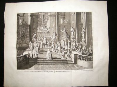 France 1730s Catholic Solemn High Mass. Paris. LG Folio Antique Print. Picart