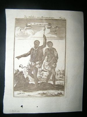 Antique South Africa: 1717  Copper Plate, Monomotapa Costume.
