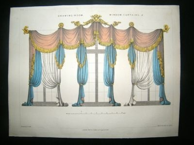 Decorative 1820's Drawing Room Curtains, Regency