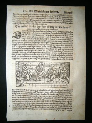 Antique Munster: C1570 Woodcut.  King Of Denmark & Sweden.