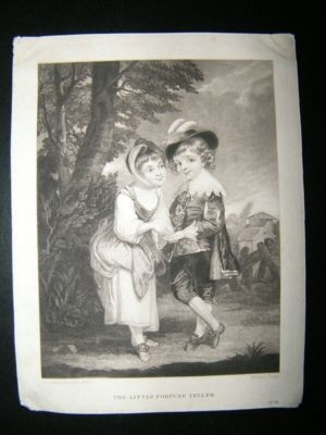 Dawe after Joshua Reynolds: C1830 Fine Children Mezzotint. Little Fortune Teller