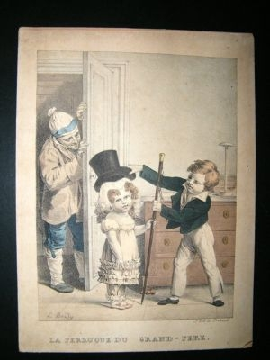 Delpech after Boilly: C1830's Fine Lithogrpah. Children Print. Hand Ccol