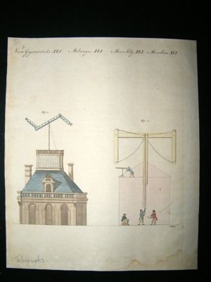 Bertuch: C1800 Telegrams. Antique Hand col Science Print