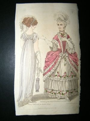 Fashion Costume Print: 1803 Hand Colored. Regency and Earlier