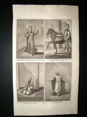 Antique Turkey 1730s Prayer, Costume. Folio Antique Print. Picart