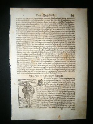Antique Munster: C1570 Woodcut. Royal King Costume UK.