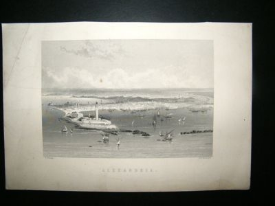 Antique Egypt: 1877 Steel Engraving, Alexandria, Antique Print