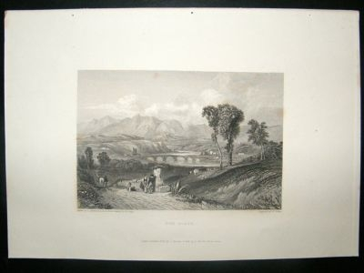 Antique Italy: 1834 Steel Engraving, Tiber, Rome Print