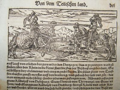 Antique Munster C1570 Woodcut. House of Habsburg Jousting.