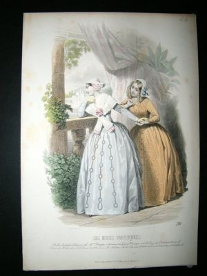 Antique Les Modes Parisiennes: C1860 Hand Coloured Fashion Prin