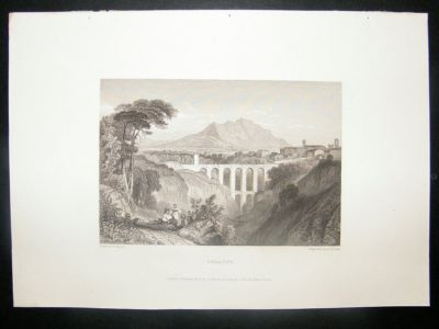 Antique Italy: 1834 Steel Engraving, Soracte Print