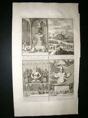 Antique Japan 1730s Confutius Idols, Amida Folio Antique Print. Picart