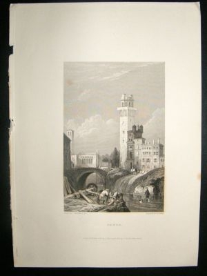 Antique Italy: 1834 Steel Engraving, Padua Print