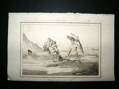 USA: C1850 Steel Engraving, Indians, Nude.