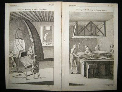 Antique Trades, Glass Blowing Manufacture:1755 Set Of 3 Prints.
