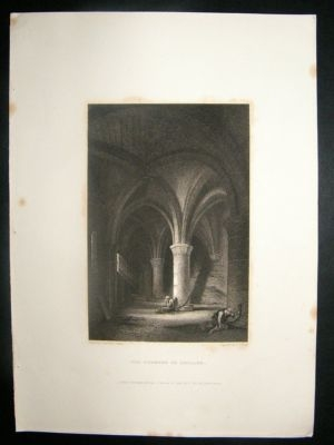 Antique Switzerland: 1834 Steel Engraving, Chillon Dungeon Prin