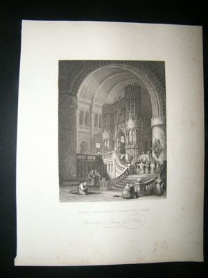 Antique France: 1834 Monks Reurning From Mass. Roberts.