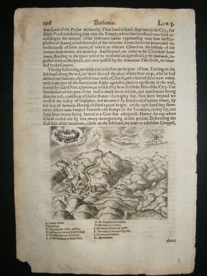 Antique Israel: 1621 Bethany, Jerusalem, Antique print, Sandys