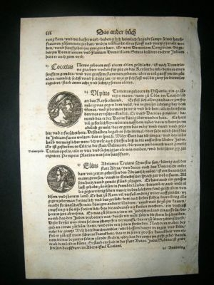 Antique Munster: C1570 Woodcut. Roman Coins Italy..