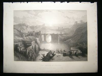 Antique Spain 1855 Steel Engraving, Bridge Of Toledo, David Rob